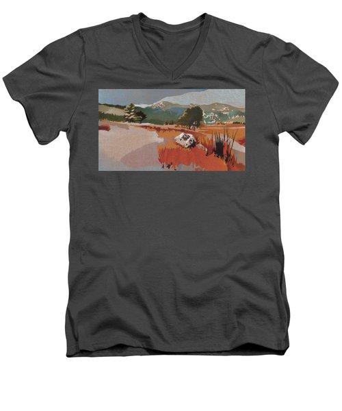 Bergen Peak First Snow Men's V-Neck T-Shirt by Dan Miller