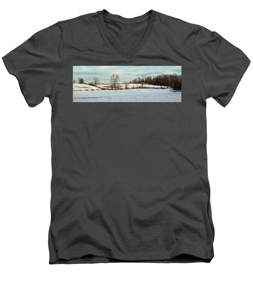 Berkshire Meadow - Winter Panoramic Men's V-Neck T-Shirt