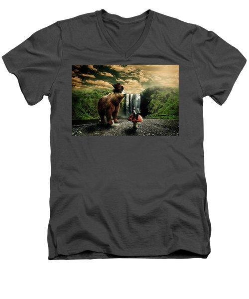 Men's V-Neck T-Shirt featuring the digital art Berlin Bear by Nathan Wright