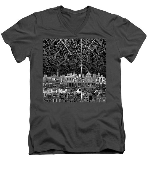 Berlin City Skyline Abstract 4 Men's V-Neck T-Shirt by Bekim Art