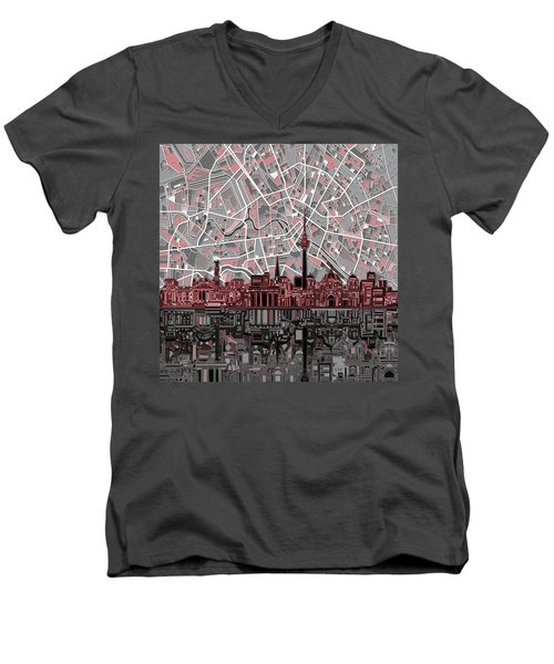 Berlin City Skyline Abstract Men's V-Neck T-Shirt by Bekim Art