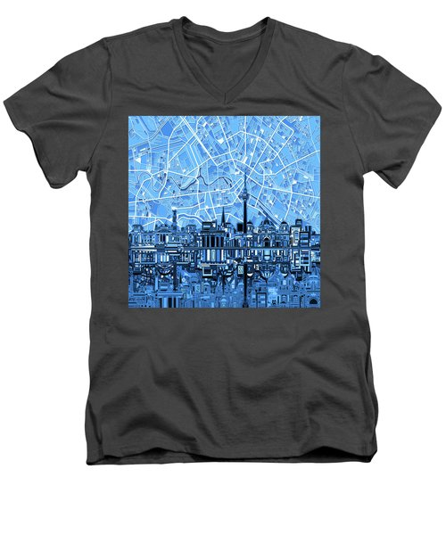 Berlin City Skyline Abstract Blue Men's V-Neck T-Shirt by Bekim Art