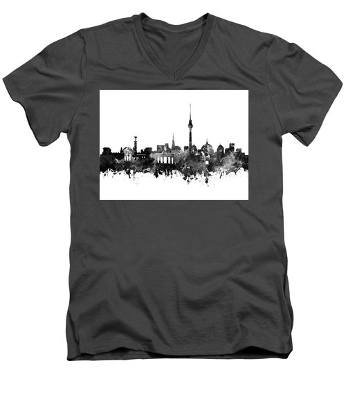 Berlin City Skyline Black And White Men's V-Neck T-Shirt by Bekim Art