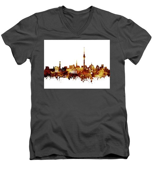 Berlin City Skyline Brown Men's V-Neck T-Shirt by Bekim Art