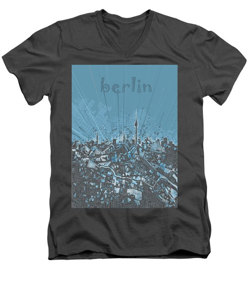 Berlin City Skyline Map 3 Men's V-Neck T-Shirt by Bekim Art