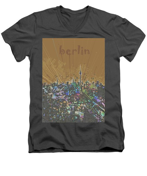 Berlin City Skyline Map 4 Men's V-Neck T-Shirt by Bekim Art