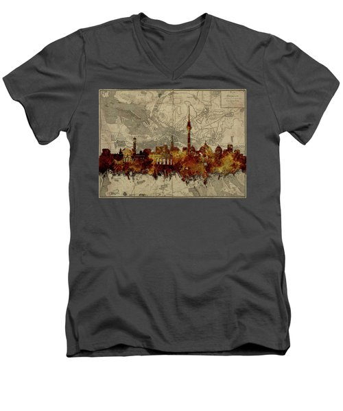 Berlin City Skyline Vintage Men's V-Neck T-Shirt by Bekim Art