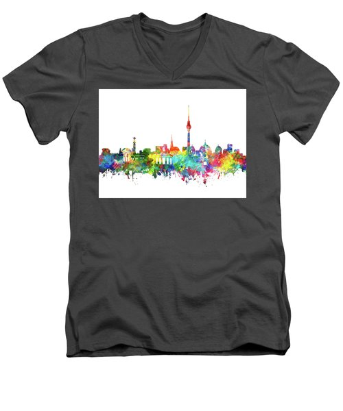 Berlin City Skyline Watercolor Men's V-Neck T-Shirt by Bekim Art