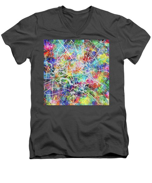 Berlin Map Watercolor Men's V-Neck T-Shirt by Bekim Art