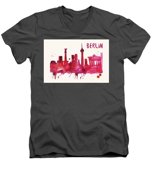 Berlin Skyline Watercolor Poster - Cityscape Painting Artwork Men's V-Neck T-Shirt