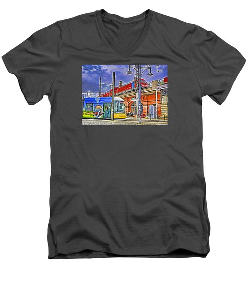 Berlin Transit Hub Men's V-Neck T-Shirt by Dennis Cox WorldViews