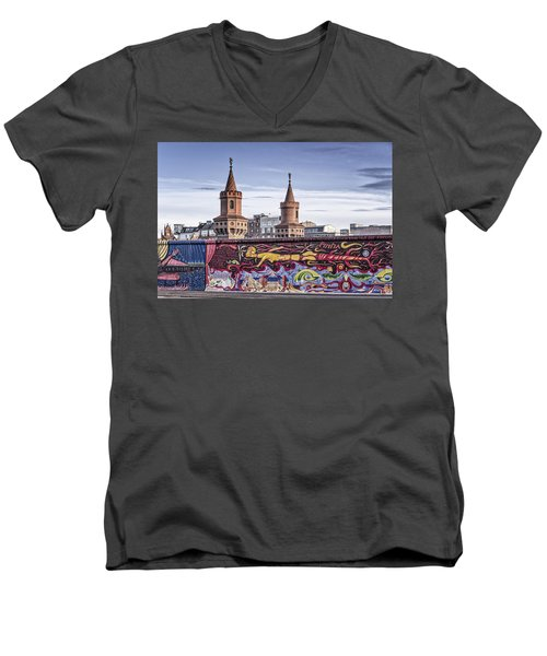 Men's V-Neck T-Shirt featuring the photograph Berlin Wall by Juergen Held