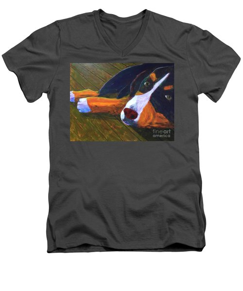 Men's V-Neck T-Shirt featuring the painting Bernese Mtn Dog On The Deck by Donald J Ryker III