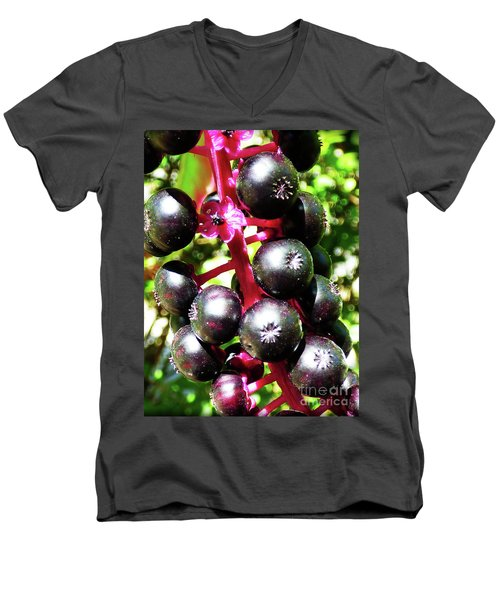 Wild Purple Pokeweed Berries  Men's V-Neck T-Shirt