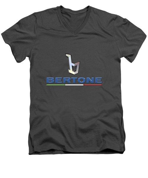 Bertone 3 D Badge On Red Men's V-Neck T-Shirt