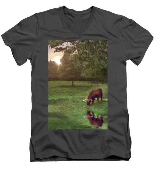 Men's V-Neck T-Shirt featuring the photograph Beside Still Waters by Mark Fuller