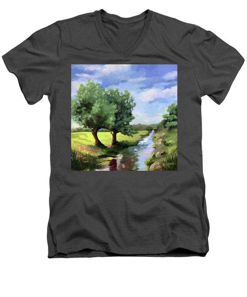 Beside The Creek - Original Rural Landscape  Men's V-Neck T-Shirt