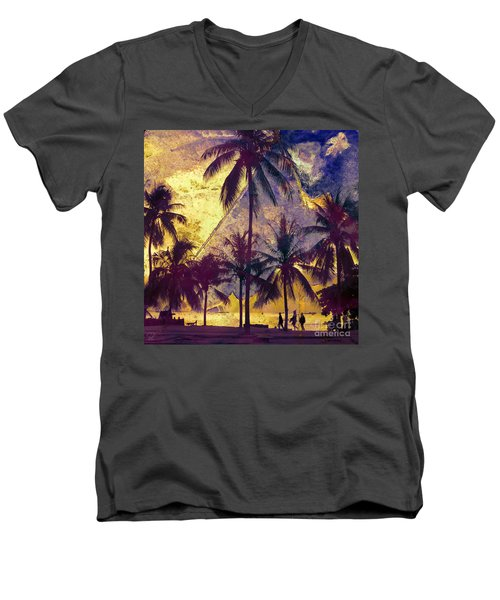 Men's V-Neck T-Shirt featuring the photograph Beside The Sea by LemonArt Photography