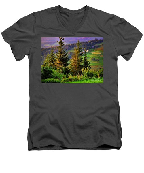 Men's V-Neck T-Shirt featuring the photograph Beskidy Mountains by Mariola Bitner