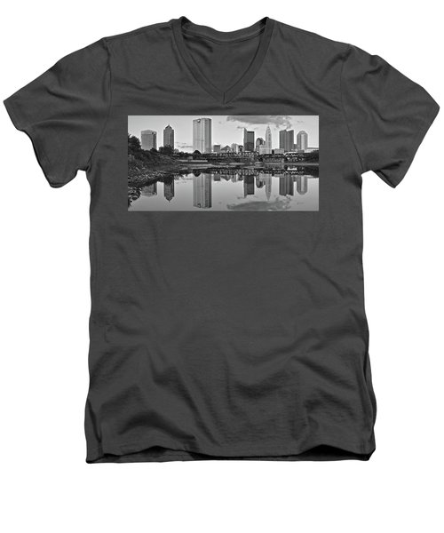 Men's V-Neck T-Shirt featuring the photograph Best Columbus Black And White by Frozen in Time Fine Art Photography