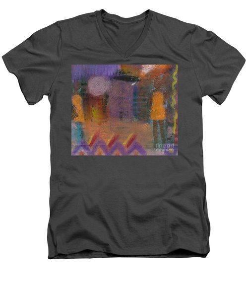Men's V-Neck T-Shirt featuring the painting Best Friends by Angela L Walker