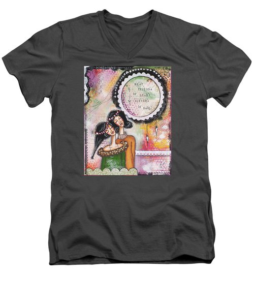 Men's V-Neck T-Shirt featuring the mixed media Best Friends By Heart, Sisters By Soul by Stanka Vukelic