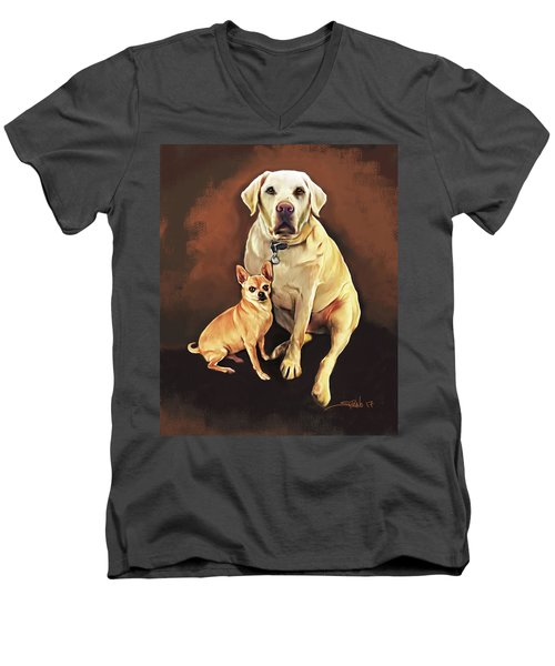 Best Friends By Spano Men's V-Neck T-Shirt by Michael Spano