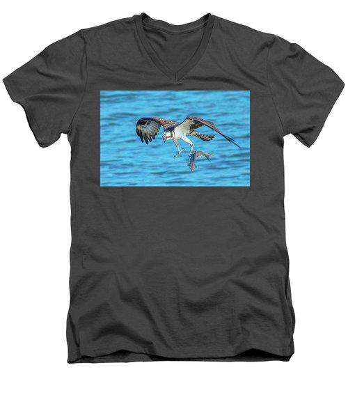 Best Osprey With Fish In One Talon Men's V-Neck T-Shirt by Jeff at JSJ Photography