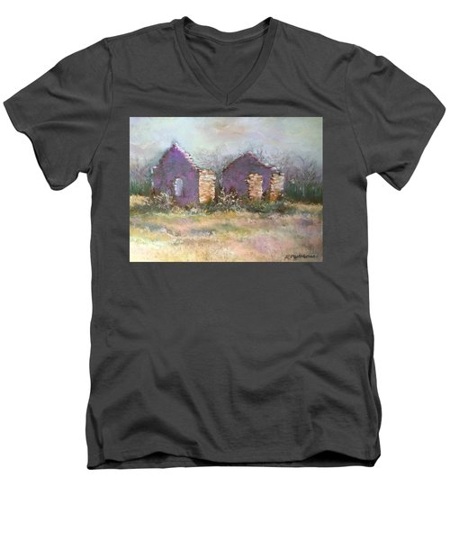 Men's V-Neck T-Shirt featuring the pastel Bethel School At Sunset by Rebecca Matthews