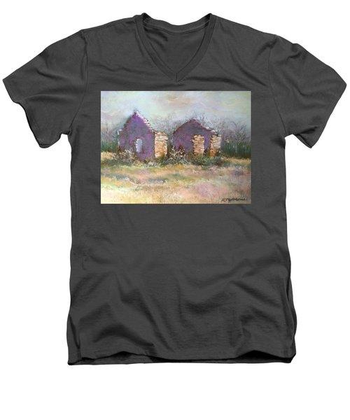 Bethel School At Sunset Men's V-Neck T-Shirt by Rebecca Matthews