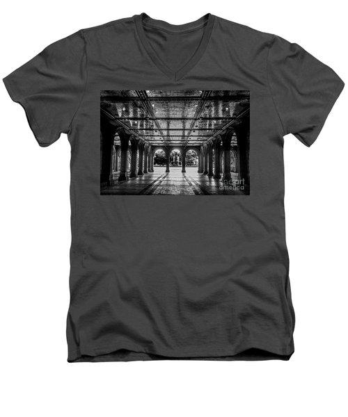 Bethesda Terrace Arcade 2 - Bw Men's V-Neck T-Shirt by James Aiken