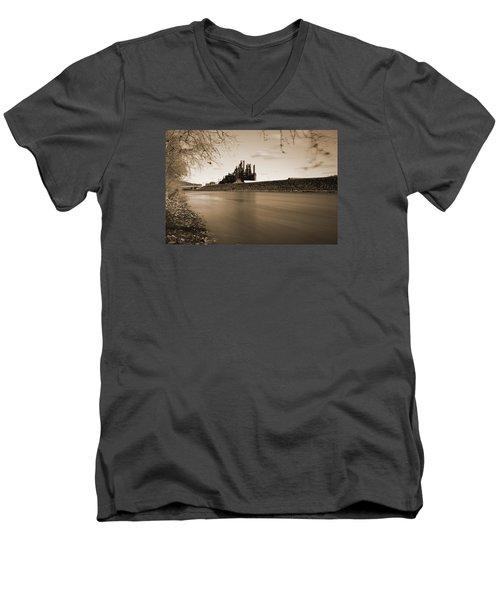 Bethlehem Steel Along The Lehigh Men's V-Neck T-Shirt by Jennifer Ancker