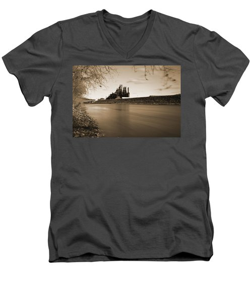 Men's V-Neck T-Shirt featuring the photograph Bethlehem Steel Along The Lehigh by Jennifer Ancker