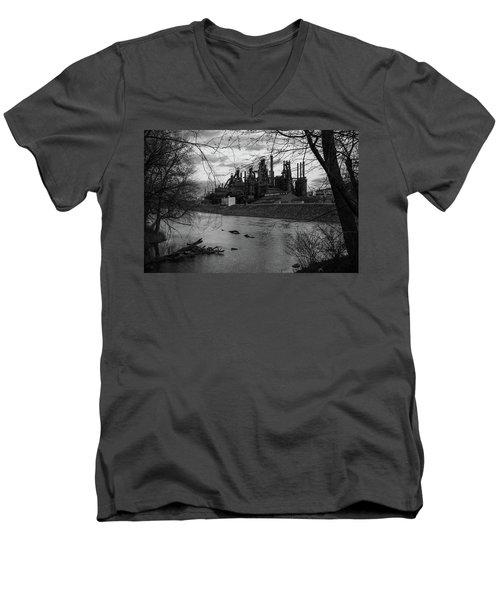 Men's V-Neck T-Shirt featuring the photograph Bethlehem Steel Bw by Jennifer Ancker