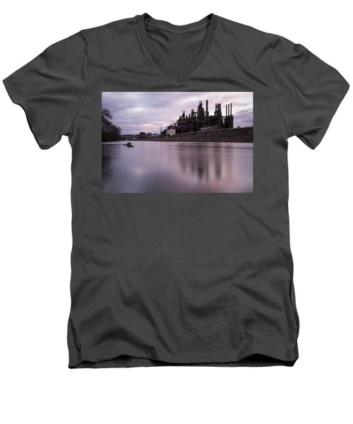 Bethlehem Steel Sunset Men's V-Neck T-Shirt
