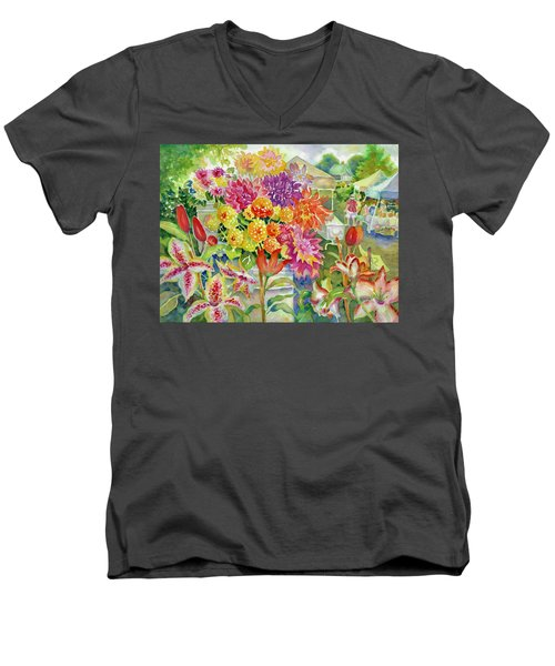 Betsy's Dahlias II Men's V-Neck T-Shirt