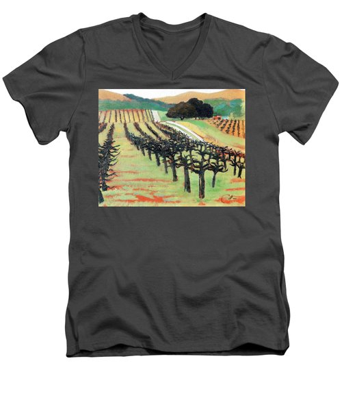 Men's V-Neck T-Shirt featuring the painting Between Crops by Gary Coleman