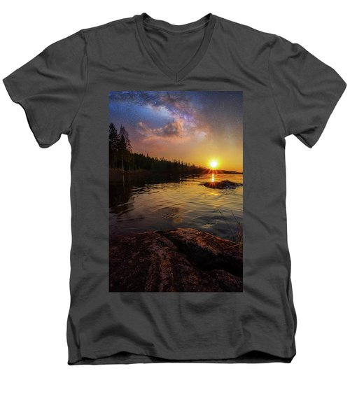 Between Heaven And Earth Men's V-Neck T-Shirt by Rose-Marie Karlsen