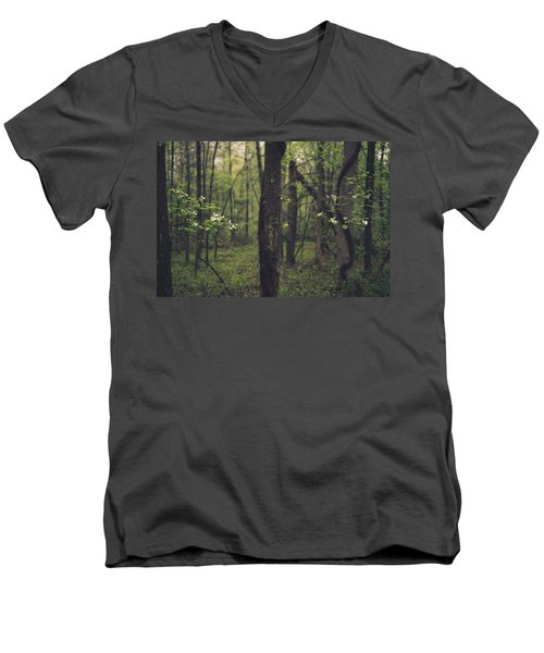 Between The Dogwoods Men's V-Neck T-Shirt by Shane Holsclaw
