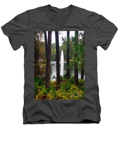 Men's V-Neck T-Shirt featuring the photograph Between The Fountain by Lori Mellen-Pagliaro
