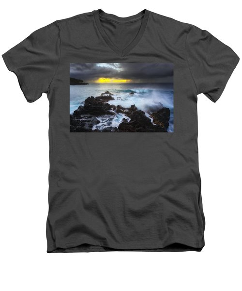 Men's V-Neck T-Shirt featuring the photograph Between Two Storms by Ryan Manuel