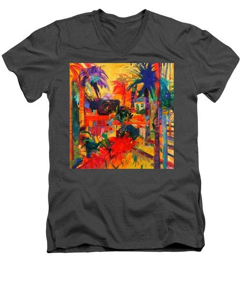 Beverly Hills Men's V-Neck T-Shirt by Peter Graham