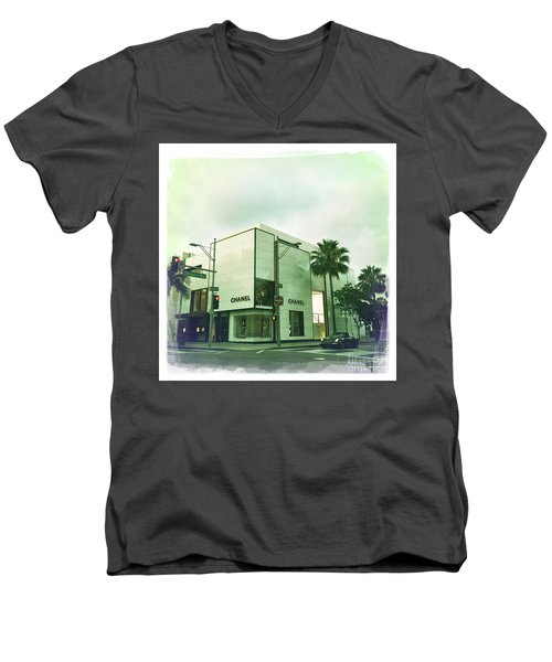 Beverly Hills Rodeo Drive 13 Men's V-Neck T-Shirt by Nina Prommer