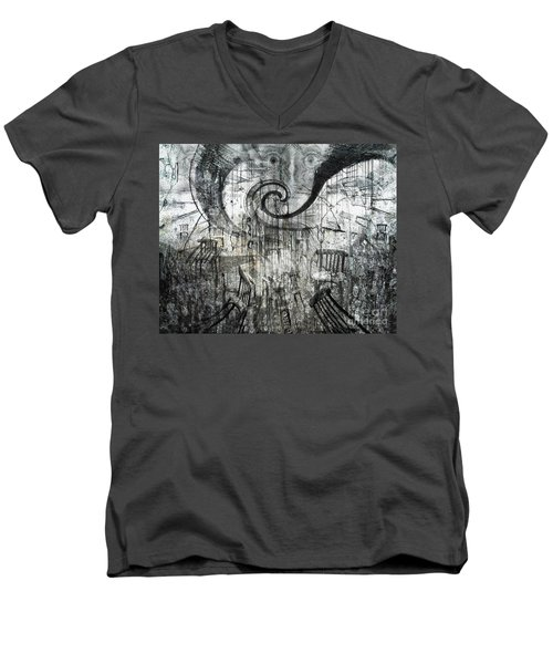 Men's V-Neck T-Shirt featuring the digital art Beware Of Darkness by Rhonda Strickland