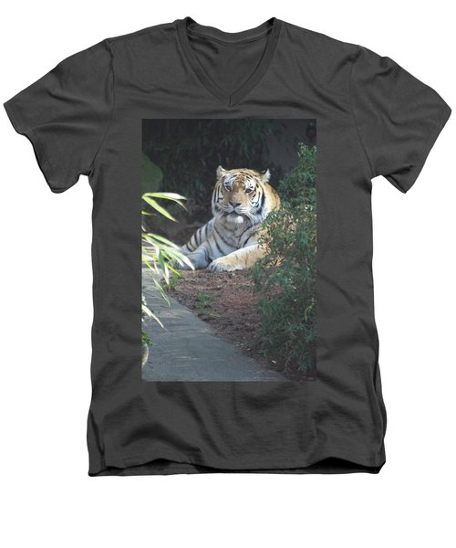 Men's V-Neck T-Shirt featuring the photograph Beyond The Branches by Laddie Halupa