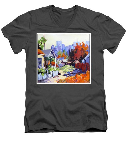 Men's V-Neck T-Shirt featuring the painting Beyond The City Limits by Rae Andrews