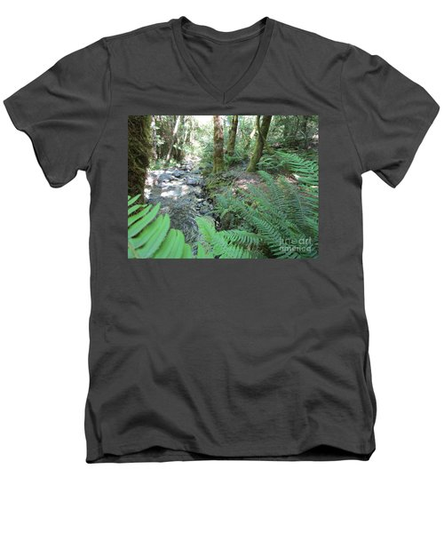 Men's V-Neck T-Shirt featuring the photograph Beyond The Ferns by Marie Neder