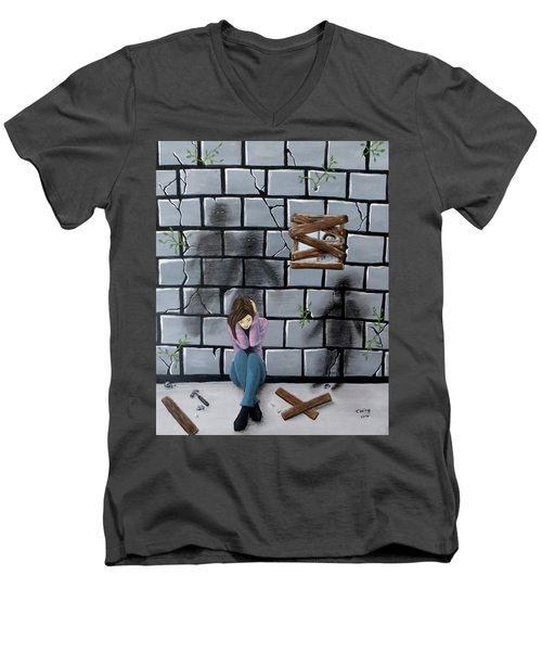 Men's V-Neck T-Shirt featuring the painting Beyond The Wall by Teresa Wing