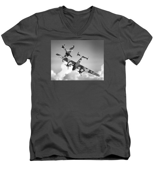Bf-110c Zerstorer Men's V-Neck T-Shirt by Douglas Castleman