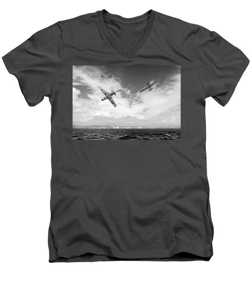 Bf109 Down In The Channel Bw Version Men's V-Neck T-Shirt by Gary Eason